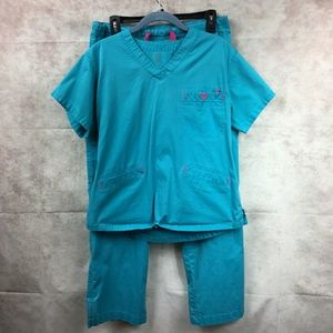 Med Couture Bright Blue Pink Scrub Set Size Small